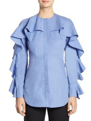 Ruffled Cotton Blouse by Sara Battaglia