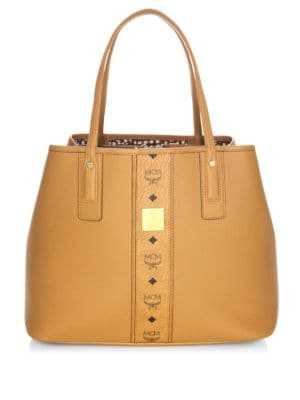 Medium Liz Reversible Visetos Leather Shopper - Brown, Cognac