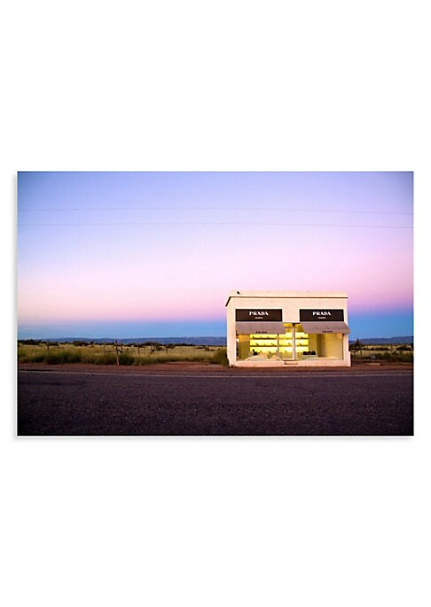"Image of This striking print features beautiful skies and the unique Prada exhibit of Marfa, Texas. From the Prada Marfa Series. Signed by artist.11.5"" x 17"".Printed on premium archival luster paper. Made in USA. Please note: Item is made to order and will ship in"