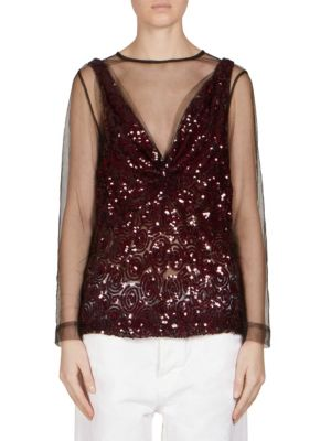 Sequin-Embellished Tank Overlay Top by Dries Van Noten