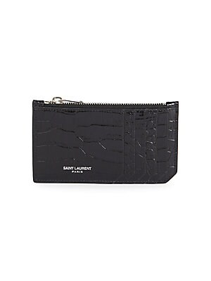 b52622f94be Saint Laurent - Fragments Crocodile-Embossed Leather Zip Card Case -  saks.com