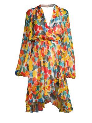 Caroline Constas Olivia Printed Silk Wrap-Style Dress