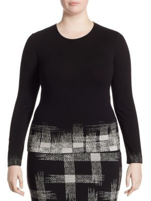 Grid Printed Knit Top by Stizzoli, Plus Size