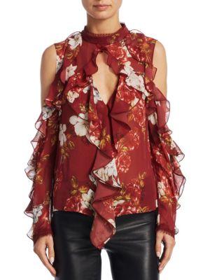 Celeste Cold Shoulder Silk Top by NICHOLAS