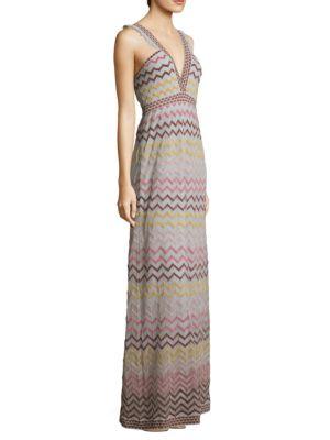 Rainbow Chevron Maxi Dress, Stone