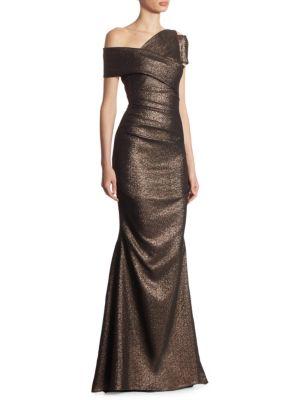 TALBOT RUNHOF Glitter Knit Asymmetrical Mermaid Gown in Red