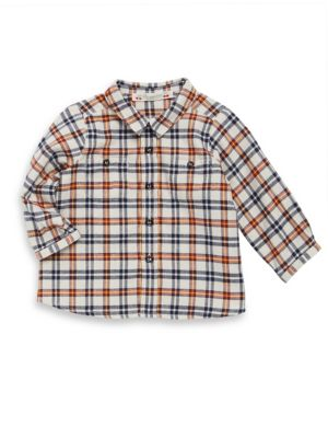 Image of .Soft cotton button-down shirt with checker design. .Point collar. .Long sleeves. .Button front. .Chest button patch pockets. .Cotton. .Machine wash. .Imported. .