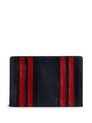 """Image of Vibrant stripes update this textured leather clutch. Zip-around closure. Lined .14""""W x 10""""H x 1""""D.Leather. Made in Italy."""
