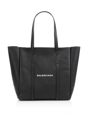 Medium Everyday Logo Leather Tote - Black