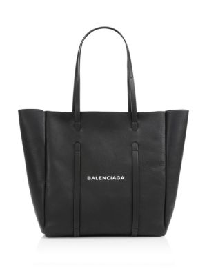 Medium Everyday Logo Leather Tote - Black, Noir