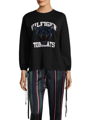 Tomcats Sequin Long-Sleeve Tee by Tommy Hilfiger Collection