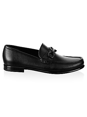 Image of Leather loafers with classic horsebit at vamp. Leather upper Moc toe Slip-on style Leather lining Leather and rubber sole Imported. Men's Shoes - Ferragamo Mens Shoes. Salvatore Ferragamo. Color: Black. Size: 10.5 E.