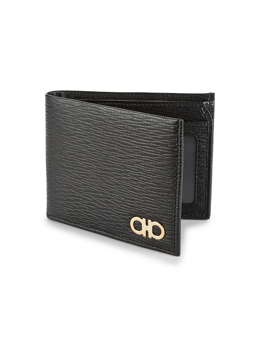 페라가모 Salvatore Ferragamo Revival Bi-Fold Leather Wallet,BLACK