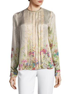 Izarra Pleated Front Blouse by Elie Tahari