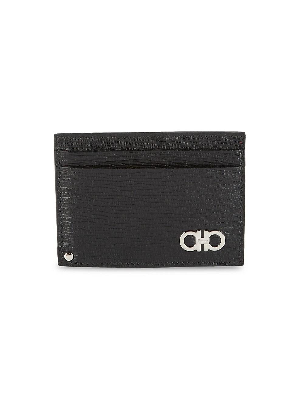 페라가모 Salvatore Ferragamo Textured Leather Card Case,BLACK