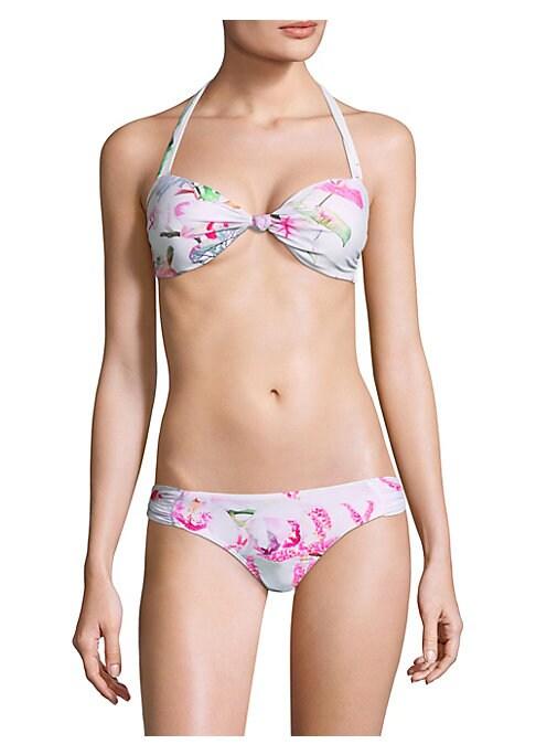 Image of Alluring halterneck bikini top with floral-print design. Halterneck. Self-tie at back.S-hook closure at back. Nylon/spandex. Hand wash. Imported. Please note: Bikini bottom sold separately.