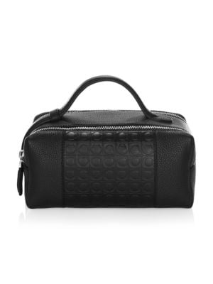 SALVATORE FERRAGAMO Stamped Gancini And Pebbled Leather Travel Kit, Black