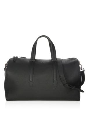 SALVATORE FERRAGAMO Firenze Pebbled Leather Matte Duffel Bag, Black