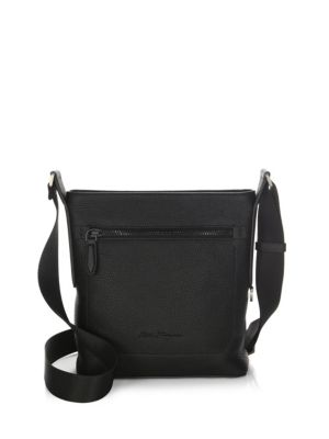 SALVATORE FERRAGAMO Men'S Black On Black Pebbled Leather Crossbody Bag, Black in Nero/ Nero