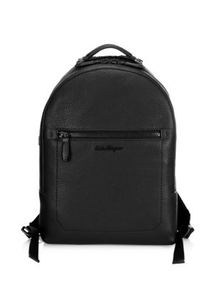 SALVATORE FERRAGAMO Muflone Metallic Leather Backpack, Black