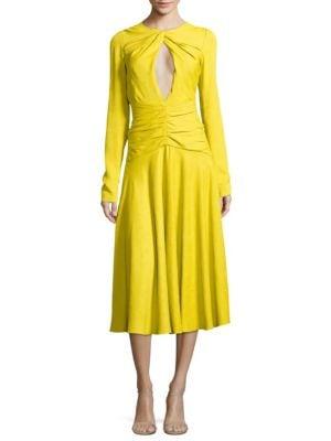 PRABAL GURUNG Jacquard Twist Midi-Dress - Chartreuse Size 2 in Yellow