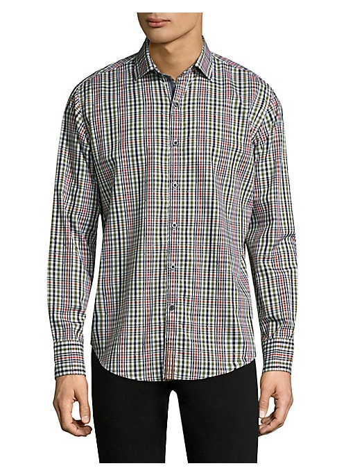 Image of Cotton casual button-down shirt with plaid design. Spread collar. Long sleeves. Buttoned barrel cuffs. Button front. Cotton. Dry clean. Imported. SIZE & FIT. Regular-fit.