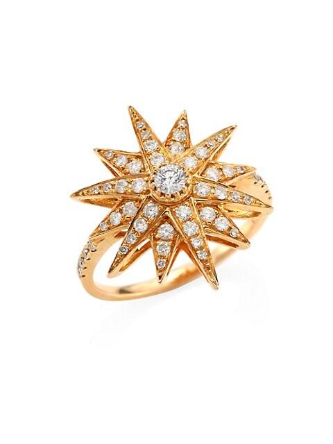 Diamond & 18K Rose Gold Starbust Ring