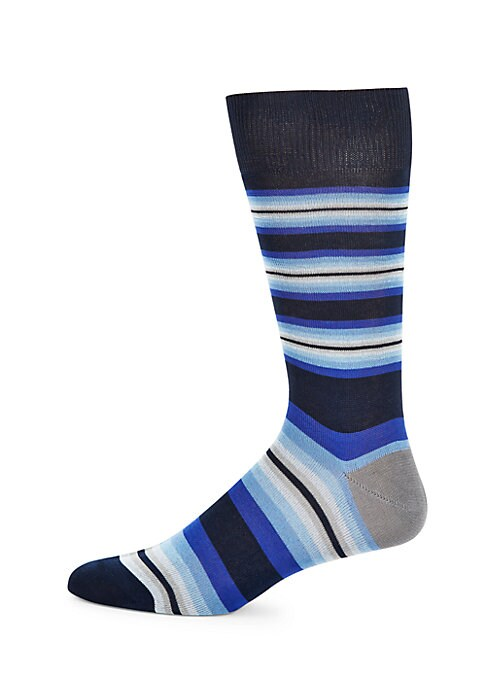 Image of Cotton-blend socks with an allover linear design. Mid-calf height. Rib-knit at cuffs. Cotton/polyamide. Dry clean. Made in Italy.