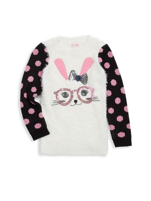 Image of .Animal with glasses knit sweater polka dot sleeves. .Crewneck. .Long sleeves. .Rib-knit cuffs and hem. .Polyester/rayon/cotton. .Hand wash. .Imported. .