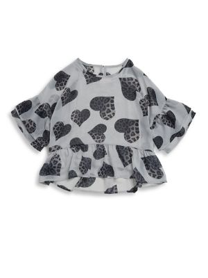 Image of .Chic blouse with animal heart print and ruffles. .Crewneck. .Short bell sleeves. .Button closure at back keyhole. .Hi-lo hem. .Polyester/viscose/spandex. .Hand wash. .Imported. .