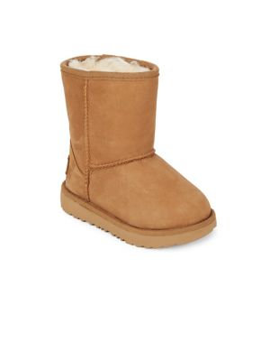 Kid's Classic Short Faux Fur Lined & Leather Boots by Ugg