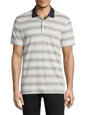 Image of Striped polo with contrast collar. Rib-knit polo collar. Short sleeves. Three-button placket. Cotton. Machine wash. Made in Italy.
