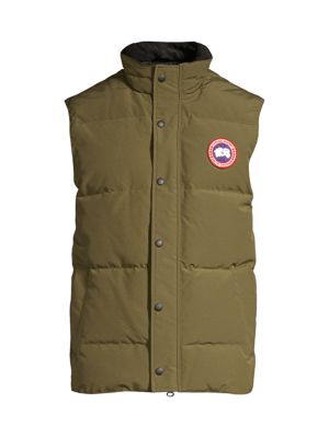 Image of .Down-filled vest featuring patch logo detail. .High neck. .Sleeveless. .Front snap closure. .Side welt pockets. .Polyester/cotton. .Fill: Duck down/duck feathers. .Dry clean. .Imported. .
