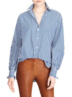 Striped Cotton Boyfriend Button-Down Shirt by Polo Ralph Lauren