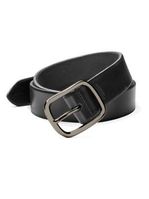 SHINOLA Men'S Beveled-Edge Leather Belt in Black