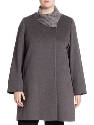 Metallic Knit Collar Coat by Cinzia Rocca, Plus Size