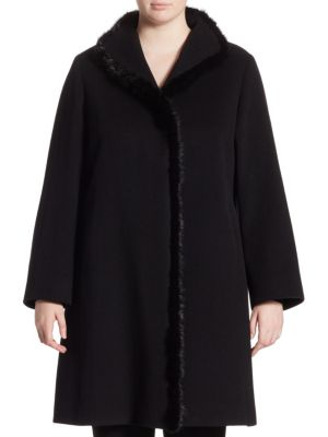 Fur Trim Walker Coat by Cinzia Rocca, Plus Size