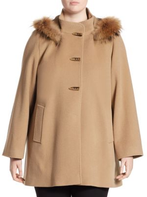 Hooded Duffle Fur Car Coat by Cinzia Rocca, Plus Size