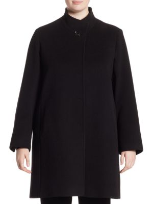 Hidden Closure Coat by Cinzia Rocca, Plus Size