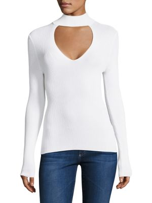 Evelina Long-Sleeve Choker Top by 360 Cashmere