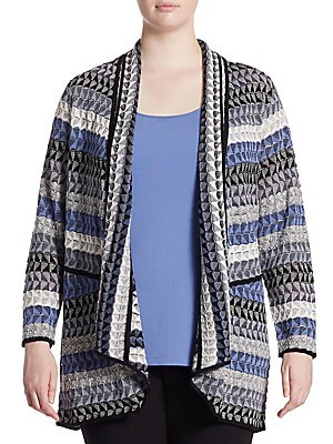"""Image of Cardigan featuring embroidered intricate design Open front Long sleeves About 27"""" from shoulder to hem Linen/rayon/nylon/acrylic/polyester Hand wash Imported. Salon Z - Salon Z Collections. NIC+ZOE Plus. Size: 2X (18-20)."""
