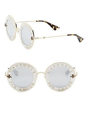 245c38a7b32 Gucci - 44MM L Aveugle Par Amour Round Sunglasses - saks.com