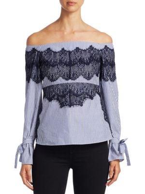 Menswear Stripe Isadora Cotton Top by Tanya Taylor