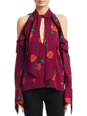 Adrienne Floral Silk Cold ShoulderTop by Tanya Taylor