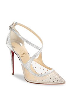 Christian Louboutin - Twistissima Strass Metallic Leather Pumps