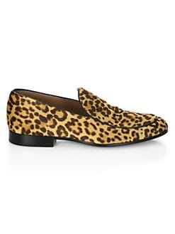Leopard Print Leather Loafers LEOPARD. Product image