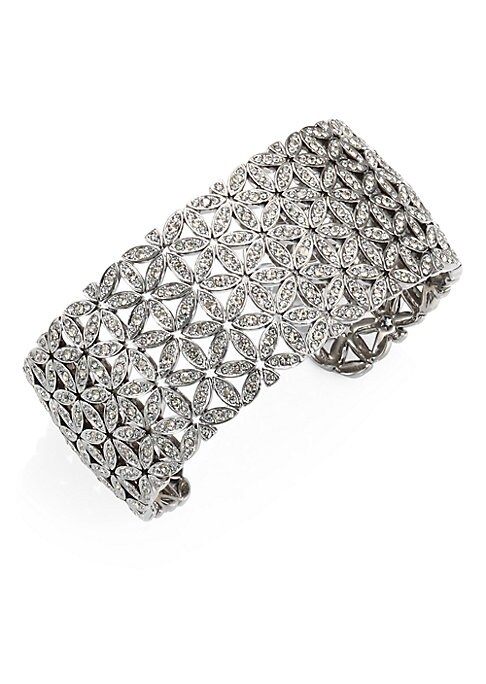 "Image of EXCLUSIVELY AT SAKS FIFTH AVENUE.A beautifully designed cuff bracelet with sparkling crystals. Rhodium-plated brass. Crystals. Diameter, about 2"".Slip-on style. Imported."