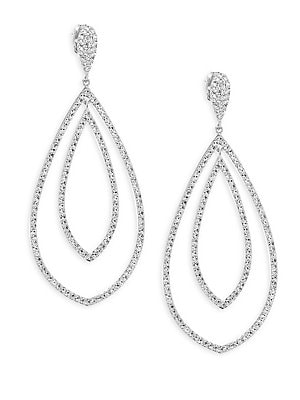 """Image of ONLY AT SAKS. Add some drama to your look with these shimmering drop earrings. Crystals Rhodium-plated brass Post back Imported SIZE Drop, about 0.375"""" Width, about 0.5"""". Fashion Jewelry - Adriana Orsini. Adriana Orsini. Color: Silver."""