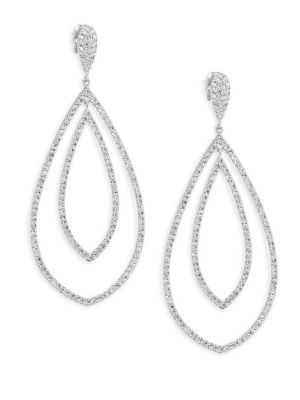 """Image of EXCLUSIVELY AT SAKS FIFTH AVENUE. Add some drama to your look with these shimmering drop earrings. Rhodium-plated brass. Crystals. Drop, about 2.5"""".Post back. Imported."""