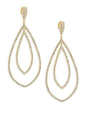 """Image of ONLY AT SAKS. Add some drama to your look with these shimmering drop earrings. Crystals 18K yellow goldplated Post back Imported SIZE Drop, about 2.375"""" Width, about 1"""". Fashion Jewelry - Adriana Orsini. Adriana Orsini. Color: Yellow Gold."""